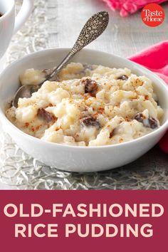 Old-Fashioned Rice Pudding Crockpot Rice Pudding, Best Rice Pudding Recipe, Greek Rice Pudding, Homemade Rice Pudding, Crockpot Recipes, Snack Recipes, Cooking Recipes, Snacks, Old Fashioned Rice Pudding