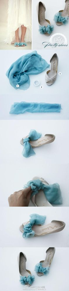 .:* L - DIY Chiffon Bows for Shoes-- love this