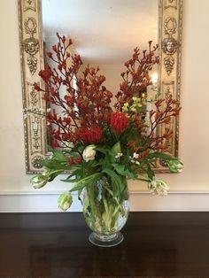Tulip, Protea, White False Indigo and Kangaroo Paw (Anigozanthus genus?)