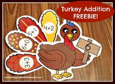 Turkey Feathers FREEBIE.  Students match the math fact feathers.  Practicing addition facts to 10