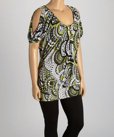 Love this Black & Lime Medallion Cutout Top - Plus by GLAM on #zulily! #zulilyfinds