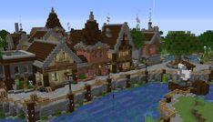 Shoreline in my survival town. Video Minecraft, Minecraft Pictures, Minecraft Plans, Amazing Minecraft, Minecraft Survival, Minecraft Blueprints, Minecraft Designs, Minecraft Medieval Village, Minecraft Cottage