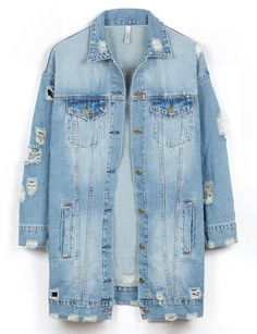 LE3NO Womens Vintage Oversized Distressed Ripped Denim Boyfriend Jacket