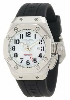 Swiss Legend Women's SL-10534-02M Trimix Diver Black/White Mother of Pearl Silicone Watch Swiss Legend. $160.00. Date function at 3:00. White mother of pearl dial with silver tone hands and black arabic numerals; luminous; hexagon shaped stainless steel bezel; secured screw-down cap on crown. Water-resistant to 200 M (660 feet). Swiss quartz movement. Mineral crystal with sapphire coating; stainless steel case; black silicone strap