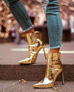 0cee51f52abc gold metallic ankle boots and ripped jeans.  fashion  style  blogger  Metallic Boots