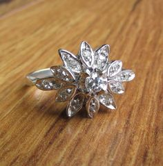 Starburst Floral Diamond Cocktail, Dinner, or Right Hand Ring! by Ringtique on Etsy https://www.etsy.com/listing/249922511/starburst-floral-diamond-cocktail-dinner