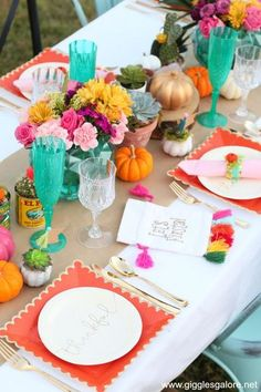 I love hosting parties and entertaining, especially during the holidays. I've been hosting Thanksgiving for our families since the very first year of our marriage. I've always loved the idea of hosting a Friendsgiving, and since I'm not hosting Thanksgiving this year I decided to make it happen. I teamed up with Oriental Trading to create this gorgeous jewel-toned Friendsgiving Fiesta with succulents, pumpkins, and fiesta decor! #fun365 #friendsgiving #thanksgiving #gigglesgalore #holidays Hosting Thanksgiving, Thanksgiving Celebration, Thanksgiving Table Settings, Thanksgiving Parties, Thanksgiving Crafts, Thanksgiving Decorations, Unique Party Themes, Creative Party Ideas, Fiesta Theme Party