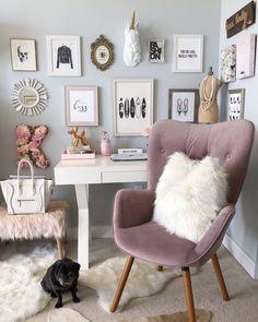 H O M E // office space (at Los Angeles,... | SBK Living Makeup Vanity Case, Diy Vanity, Makeup Vanities, Built In Vanity, Natural Bedroom, Traditional Chairs, Ikea Bedroom, Bedroom Ideas, Bedroom Inspiration