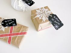 DIY gift wrap ideas with brown bags, dish towels, and washi tape!