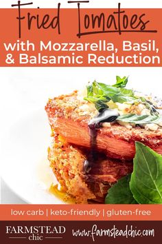 These low carb, keto fried tomatoes with mozzarella, basil and balsamic reduction are crispy on the outside and juicy on the inside. Farm-fresh tomatoes are breaded in a gluten-free, grain-free grated parmesan mixture, fried until crispy, topped with melted mozzarella and fresh basil and drizzled with a homemade balsamic vinegar reduction. Low Carb Summer Recipes, Low Carb Recipes, Real Food Recipes, Vegetarian Recipes, Low Carb Lunch, Low Carb Pizza, Low Carb Keto, Low Carb Appetizers, Appetizer Recipes