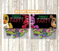 Five Nights at Freddy's Party Favor Thank You bag Tags Instant Download