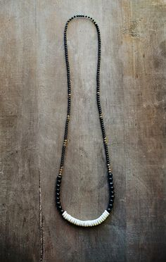 Mixed Media Boho Necklace / Black Agate / Wood / by BlueBirdLab