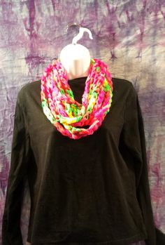Crochet Fashion Scarf Necklace Neon Colors by CraftyColors on Etsy, $15.00