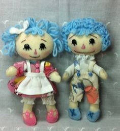 Poseable Soft Wool Felt 7 doll GingerMelon  RaggaMuffin  Raggedy Ann & Andy by theStudioGiftShop, $23.00