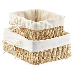 101 Beach House Must-Haves: The Container Store Natural Lined Makati Baskets Wire Basket Storage, Wire Storage, Fabric Storage, Storage Baskets, Closet Storage, Rectangular Baskets, Large Baskets, Wicker Baskets, Container Store