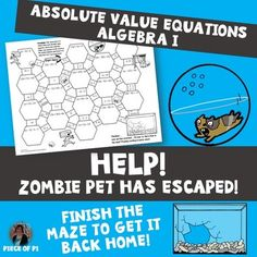 In this maze activity, students will solve absolute value equations. Some contain extraneous solutions. Students will complete a total of 10 practice problems. Algebra Activities, Math Resources, Teaching Math, Too Cool For School, Middle School, High School, Absolute Value Equations, Pet Theme, 7th Grade Math