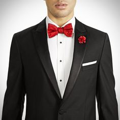 0320be6fc2d Black Peak Lapel Tux with Red Bow tie and lapel pin by Generation Tux Black  And