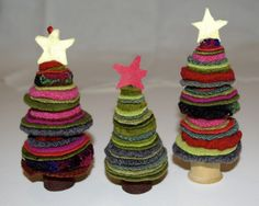 wool felt tree christmas decorations kid's craft - recycle old sweaters and wooden spools and a gold button too! Christmas Tree Decorations For Kids, Felt Christmas Ornaments, Vintage Christmas Cards, Handmade Christmas, Christmas Tree Ornaments, Christmas Sewing, Christmas Cookies, Christmas Makes, Christmas Time