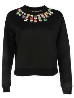 FENDI Fendi Embellished Neck Sweatshirt. #fendi #cloth #fleeces-tracksuits