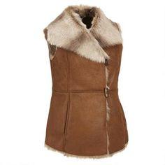 Ellen Tracy Faux-Shearling Vest w/Faux-Fur Collar #WLDreamFallWardrobe @wilsonsleather1 leather