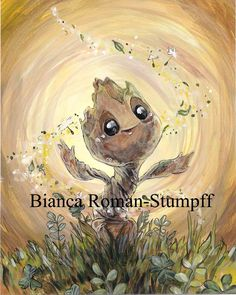 Baby Groot by Bianca Roman-Stumpff, signed 4X6 print mounted on a 5X7 board for easy framing. Donated by the artist!