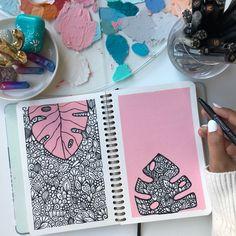 Easy Mandala Drawing, Mandala Art Lesson, Doodle Art Drawing, Mandala Artwork, Cool Art Drawings, Art Drawings Sketches, Easy Drawings, Drawing Ideas, Dibujos Zentangle Art