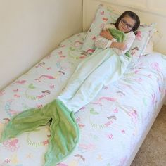 Every Little Girl who Dreams of Being a Mermaid LOVES this Adorable Cozy Mermaid Tail Blanket! COLOR: Light Blue & GreenSIZE: Ages 3-12 Years Climb inside t