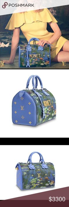MASTERS COLLECTION! Louis Vuitton Monet Speedy! SOLD OUT! The iconic Louis Vuitton canvas is the perfect blank page to express the uniqueness of this Masters Collection's piece of art. The pure lines of the historical Speedy allows an expression of refinement and femininity through exclusive know-how: gold Monogram serti, flower shapes, reflective metallic letters and colored trimmings. An exclusive leather lining embossed, printed and filled with gold.   BRAND NEW! Comes with dustbag, charm…