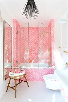 bonbon pink tub tiling with glas doors in white and bright small bathroom - wood., bonbon pink tub tiling with glas doors in white and bright small bathroom - wooden stool, matching accents Home Design, Home Interior Design, Interior Decorating, Decorating Tips, Stylish Interior, Decorating Websites, Bohemian Interior Design, Design Ideas, Design Girl