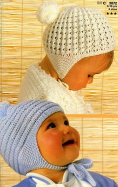 Knit Baby Hats Vintage Pattern toddler knitting by OhhhBabyBabyPatons C 3072 childrens hats. This is a very useful pattern that knits up very well Patons Childrens hatsBaby / Toddler / Child's Helmets / Bonnets 2 styles 1 month - 10 years - PDF of Vi Baby Hat Knitting Pattern, Baby Hat Patterns, Baby Hats Knitting, Knitting For Kids, Vintage Knitting, Knitted Hats, Crochet Hats, Newborn Knit Hat, Beanie Pattern