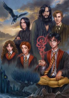 Harry Potter ,Ron Weasley ,Hermione Granger ,Severus Snape ,Remus Lupin and Sirius Black Arte Do Harry Potter, Harry Potter Artwork, Harry Potter Drawings, Harry Potter Pictures, Harry Potter Wallpaper, Harry Potter Fan Art, Harry Potter Universal, Harry Potter Characters, Harry Potter World