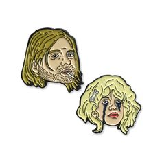 """Kurt Cobain and Courtney Love reunite in this pin pack. Who doesn't want to be the girl with the most cake? Even if it's covered in mascara... and hopelessness. Two 1"""" tall black nickel plated lapel pins. Complete with a rubber clutch backing. Illustrated by Tristan Douglas of 32 Stories."""