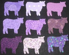 9 Easy to Use Purple Cow Fabric Appliques  by MarsyesQuiltShop, $9.95