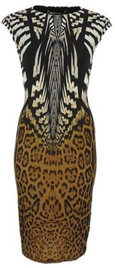 Roberto Cavalli's cap sleeve tribal print jersey dress is the right way to wear the tribal trend this fall.
