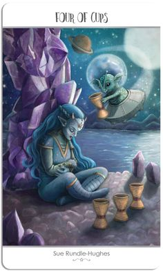 Featured Card of the Day - 4 of Cups - 78 Tarot Astral ~ Tarot in Space