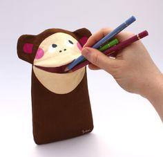 Stiftemäppchen Affe Jimmi by JulicaDesign / Geschenk zur Einschulung, Schulanfang