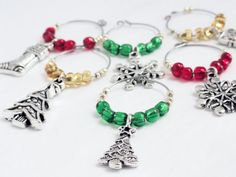 Beaded wine charms Christmas wine charms by handmadeintoronto Christmas Wine, Silver Christmas, Christmas Trees, Xmas, Wine Glass Charms, Beads And Wire, Antique Silver, Snowflakes, Charmed