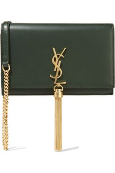 Saint Laurent - Monogramme Kate Small Leather Shoulder Bag - Army green by: Saint Laurent @Net-a-Porter (US)