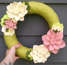 Green & pink yarn wreath, yarn wreath, door decor,felt flower wreath,spring wreath,summer wreath,flower wreath,wedding decor, summer decor, by madymae on Etsy https://www.etsy.com/listing/196604640/green-pink-yarn-wreath-yarn-wreath-door