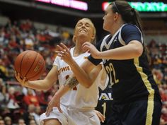 Iowa State's Jadda Buckley drives toward the basket against Northern Arizona during the fourth quarter of the Cyclones' 79-63 win at Hilton Coliseum on Tuesday, Dec 22, 2015, in Ames, Iowa. Photo by NIrmalendu Majumdar/Ames Tribune  http://amestrib.com/sports/women-s-basketball-cyclones-finish-strong-close-out-non-conference-northern-arizona-win