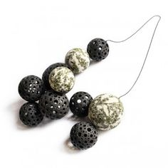 Luca Tripaldi. NECKLACE - black and white porcelain spheres and ceramic transfers