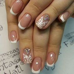 Full Pinky Nude Instead Of French Tip and Rose Design Added Instead Of Rhinestones