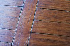 Black shoe  polish to highlight the grain - great tip for miniature floors