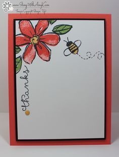 I used the new Garden in Bloom and Cottage Greetings stamp sets from Stampin' Up! to create a clean and simple thank you card. I love this flower image! The color combinations with it are endless. Watercolor Birthday Cards, Watercolor Cards, Hand Drawn Cards, Bee Cards, Card Drawing, Paint Cards, Tampons, Sympathy Cards, Creative Cards