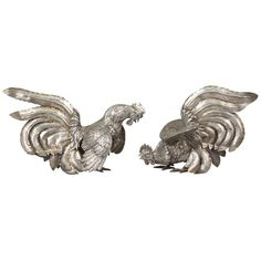 Pair of Camusso Sterling Silver Fighting Roosters Sculpture | From a unique collection of antique and modern sculptures at https://www.1stdibs.com/furniture/decorative-objects/sculptures/