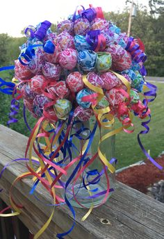 This Bouquet has 180 suckers to take with you when you go bar hoping! That's right a suck for a buck! I will add more bling for your bang. Turn around time is business days. This item will ship either FedEx or USPS! Lollipop Bouquet, Lollipop Tree, Lollipop Party, Gift Bouquet, Candy Bouquet, Candy Centerpieces, Candy Decorations, 80th Birthday, Birthday Parties