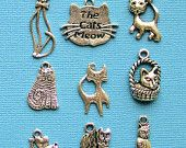 Cat Charm Collection Antique Tibetan Silver Tone 9 Different Charms - COL033