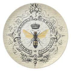 Shop Modern vintage french queen bee dinner plate created by GIFTSBYHEATHERMYERS. Modern French Country, French Country House, French Decor, French Country Decorating, Vintage Bee, Vintage Labels, Bee Art, French Cottage, Queen Bees