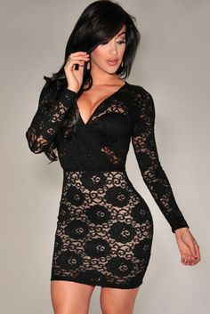 See through lace long sleeve bodycon dress mini dress clubwear, beautiful b Club Dresses, Sexy Dresses, Short Dresses, Fashion Dresses, Party Dresses, Event Dresses, Party Outfits, Mini Dresses, Dress Outfits
