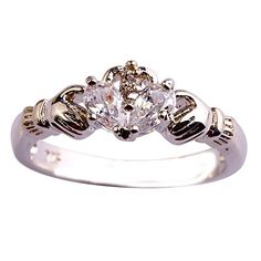 Dudee Flower Clusters Silver Ring Quartz White Size 7 8 9 cz engagement ring